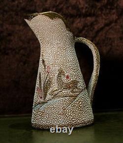 Rare Vintage Coralene Ceramic Handled Deer Gilded Milk/Water Pitcher/Jug Signed