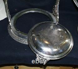 Rare c1880 Racine Silverplate Co Gold Washed Silver Plated Tilting Water Pitcher