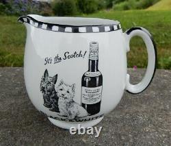 Rare small size Shelley pottery Black White Scottie dogs whisky water pub jug