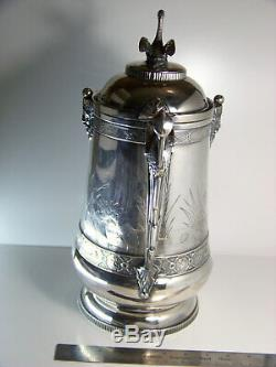 Reed & Barton Silverplate Aesthetic Ice Water Pitcher with Swan Finial Antique