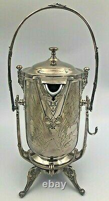 Reed & Barton Tilting Ice Water Pitcher on Frame Silver Plated 1872