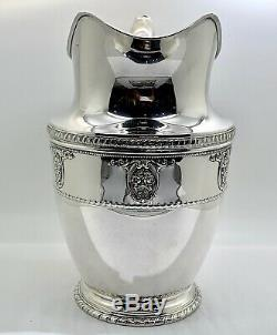 Rose Point By Wallace Sterling Silver Water Pitcher 9 1/2 Tall