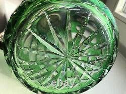 SAINT LOUIS Huge Water Jug Pitcher Green Cut Crystal & SilverPlate Art Deco