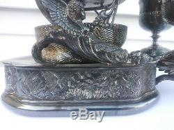 Silver Plated Tilting Water Pitcher 2 goblets figural nude winged fish. Wilcox