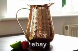 Solid Handmade Cold Water Pitcher 100% Pure Copper Hand Hammered Large 68oz Jug