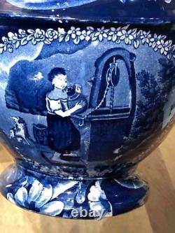 Staffordshire Dark Blue Transfer Jug, Water Girl aka Rebecca at Well, Clews