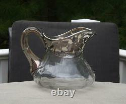 Sterling Silver Overlay Glass Water Pitcher Hand Blown 6H MINT