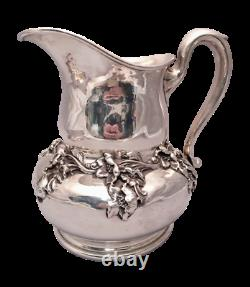Sterling Silver Water Pitcher by Woodside With Dimensional Flowers