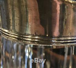 Tall Antique Fluted Crystal and Sterling Water Pitcher 10.75 x 4.75