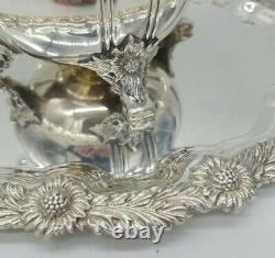 Tiffany & Co. Chrysanthemum Water Pitcher & Plate Sterling Silver