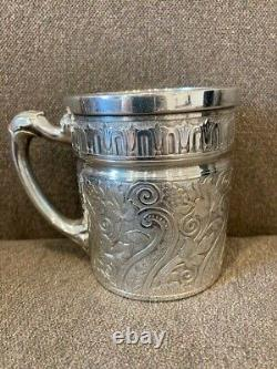 Tufts LION Silver Plate WATER PITCHER STAND AND CUP - Incredible Design