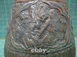 Turkish Copper Water Jug Pitcher Cramp Seam Antique Hammered Handcrafted Ornate