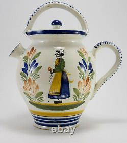 VTG Henriot Quimper Faience Large Water Jug Wine Pitcher Breton Woman with Lid