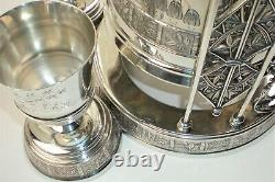 Victorian Aesthetic Pair Point Quadruple Plate Ice Water Tipper Pitcher Stand