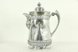 Victorian Antique Silverplate Water Pitcher, Goblet & Stand, Middletown #33539