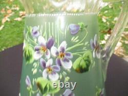 Victorian Glass Lemonade Water Pitcher Jug Enamel Purple Violets Satin Green