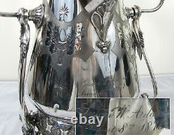 Victorian Racine Silverplate Ornate Water Tippler 1878 19 H nymphs florals