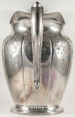 Vintage American Sterling Silver Water Pitcher Hand Chased