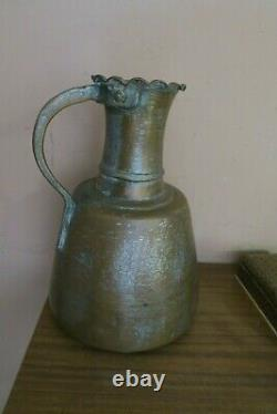 Vintage / Antique Arabic Handmade Hammered Copper Water Pitcher Ewer Jug 14
