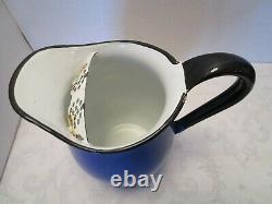 Vintage Blue Enamelware water Pitcher Jug Farmhouse withice lip Japan OTO 9 ½ T
