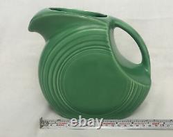 Vintage Fiesta Original Green Disc Water Pitcher Jug Fiestaware No Dimple handle