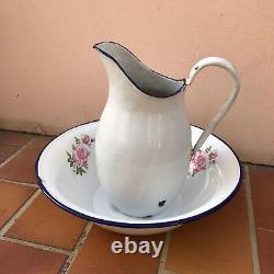Vintage French Enamel pitcher jug water enameled bowl set 0607201