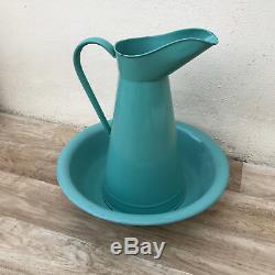 Vintage French Enamel pitcher jug water enameled bowl set blue green 2804184