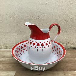 Vintage French Enamel pitcher jug water enameled bowl set red white 1110182