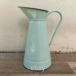 Vintage French Enamel pitcher jug water enameled light green 1409216