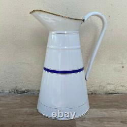 Vintage French Enamel pitcher jug water enameled white blue line 2808212
