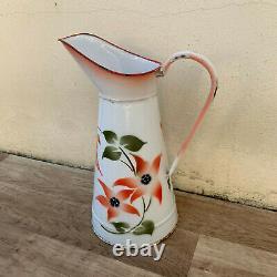 Vintage French Enamel pitcher jug water enameled white flowers RARE 0603191