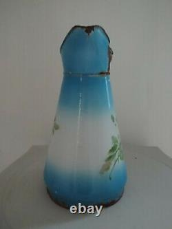 Vintage French Enamel pitcher jug water enameled with flowers