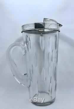 Vintage Hawkes Sterling Silver Crystal Water Drop Motif Pitcher
