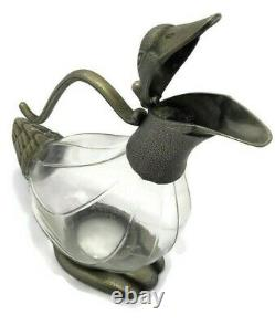 Vintage Jug Pitcher Duck Silver Plated Glass Israel Decor Water Tea Pot Decor