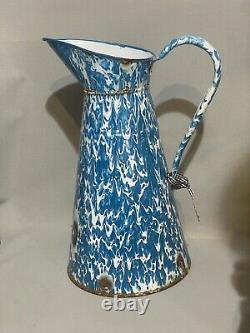 Vintage Large French Blue & White Swirl Granite/Enamelware water pitcher/jug