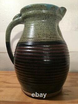 Vintage Large Stoneware Pottery Water Jug Pitcher with Lid, Signed, Beautiful