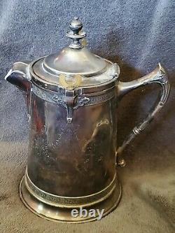 Vintage Reed & Barton Ice Water Pitcher Silver Plate Antique Patina wHeavy Liner