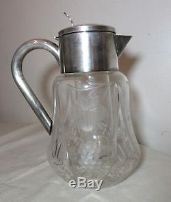 Vintage antique ASCI silverplate cut crystal water pitcher ice chamber decanter