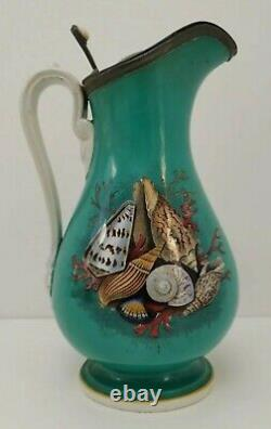 Vtg 1890s Prattware & Pewter Pottery Turquoise Sea Shells Ale Water Jug Pitcher