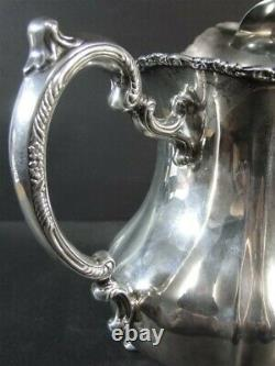 Vtg POOLE #990 LANCASTER ROSE Footed Water PITCHER with Ice Lip Sterling Silver nm