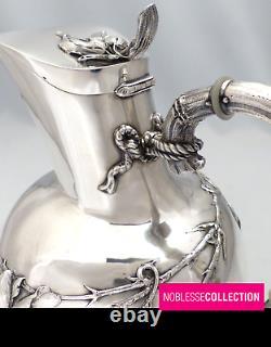 WOLFERS & Frères UNIQUE ANTIQUE 1890s BELGIAN STERLING SILVER WATER JUG PITCHER