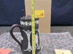 Wedgwood Black Basalt Syrup Jug Pitcher Water Beverage Lid Stein Jasperware Jar