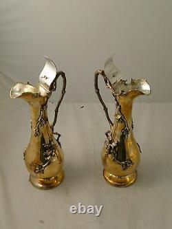 Wine/ Water Jugs, Silver Plated, Applied Acorn And Vine, Circa 1900, Beautiful