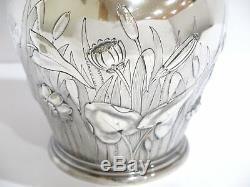 13 1/8 Coin Argent Gorham Antique Fleur Quenouille Décoré Pitcher Eau