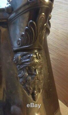 13 Antique 1854 Silver Reed & Barton Plaque Gravé Eau Glacée Neptune Pitcher