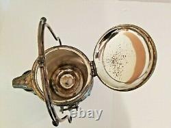 1847 Rogers & Bro Triple Silver Plate Basculement Glace Pitcher Eau Sur Le Stand Withcup