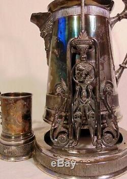 19 C Antique Silver Plate Quadrupleplate Pot Basculement Isolé Pitcher Eau