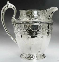1915 Ornate Whiting Sterling Silver Water Pitcher 84 Fl. Oz Taille Énorme