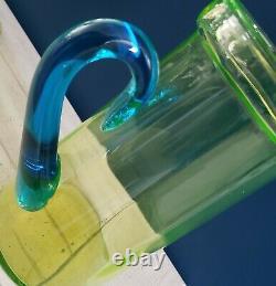 1920s Tiffin Eau Jug Pitcher W LID Vert Uranium Verre W Poignée Bleue