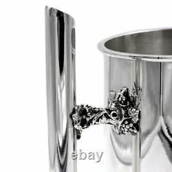 925 Sterling Argent Argent Pichet Jug D'eau Avec Décoration De Raisin Fin